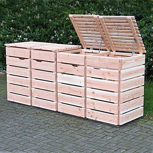 4er Mülltonnenbox / Mülltonnenverkleidung 240 L Holz, Douglasie Natur