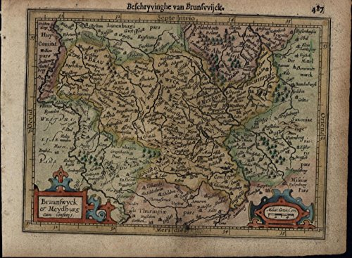 Brunswick Germany Meydburg antique beautiful c.1628 Mercator minor old map (Antique Mercator Map)