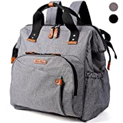 Diaper Bag Backpack, Wide Open Large Travel Bags with Stroller Straps and Changing Mat, for Men Or Women, Boys and Girls (Gray)