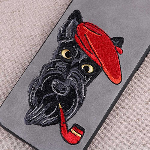 (Embroidery Smoking Schnauzer Pattern Phone Case Scratch-resistant Shockproof Protective Hard Phone Cover for iPhone 8/7 (Light)