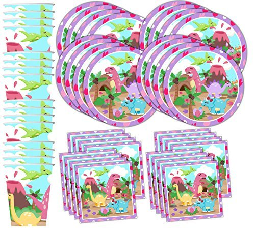 Pink Little Dino Girl Dinosaur Birthday Party Supplies Set Plates Napkins Cups Tableware Kit for 16 -
