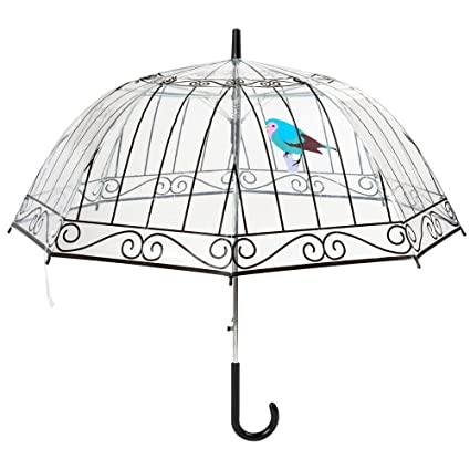 La Chaise Longue - Paraguas automatico y transparente, forma de campana - Impreso jaula de