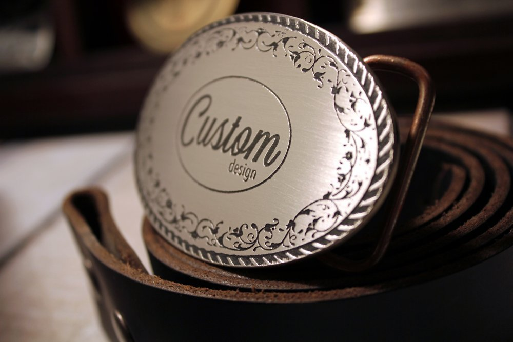 Custom DESIGN YOUR OWN Etched Metal Belt Buckle