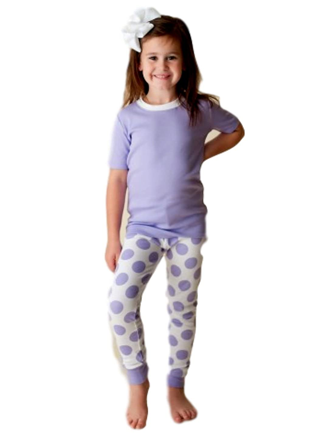 Girls Lavender Dot Short Sleeved Pajamas