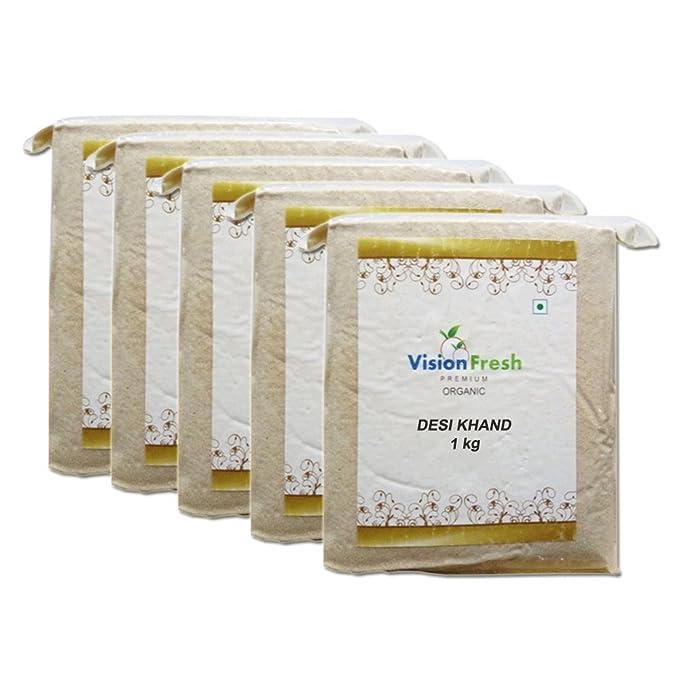 Vision Fresh Organic Desi Khand (Sugar) - 5 Kg - Pack of 5 (1 Kg