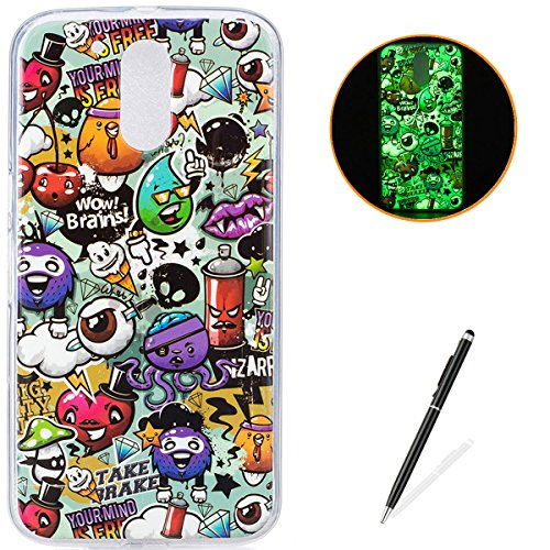 Motorola G4 Soft Silicone Gel Case Luminous Effect KaseHom [with Free Black Touch Stylus] Green Glow in The Dark Colourful Cartoon Rubbish Pattern Jelly Clear TPU Skin Cover Bumper Shell