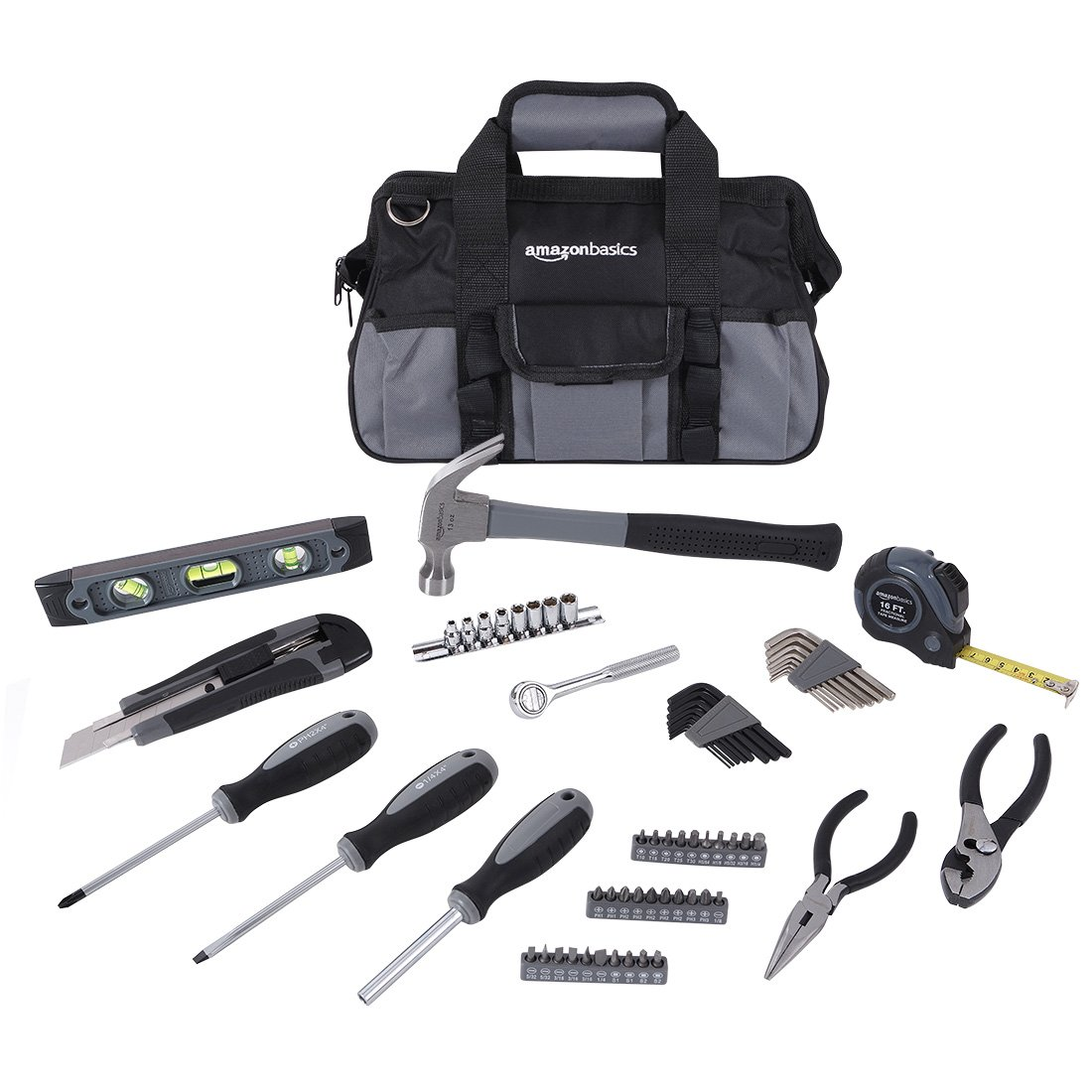 AmazonBasics 65-Piece Home Repair Kit, Basic Tool Set for Home/Office/Dorm/Apartment with Tool Bag by AmazonBasics