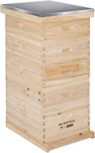 VIVOHOME Wooden 5 Layers 5 Box Langstroth Honey Bee Hive Box with Metal Roof for Beekeeping (Foundations Not Included)