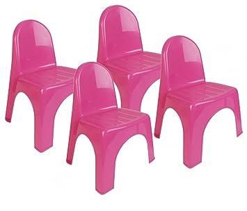 4 x chaise jardin plastique chaise chaise empilable meubles pour enfants chambre denfant rose - Fauteuil Jardin Plastique
