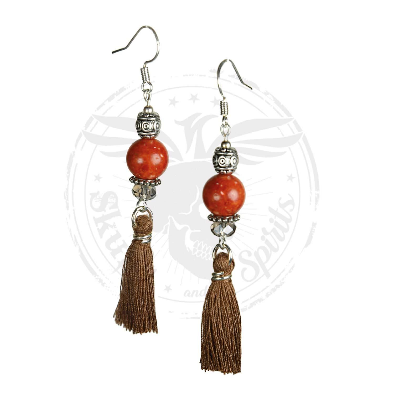 Naapi Coral (rojo) - SKULLS AND SPIRITS - Pendientes de Bohemia con borla en colores diferentes (hecho en España)