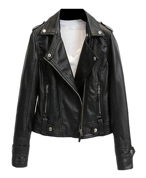 954df85ff6 BLTR Women Notch Lapel Moto Biker Oblique Zipper Faux Leather Jacket Black  US XS
