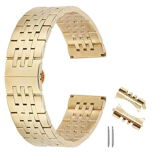 12mm 24mm Impresionante reemplazo Correa de Reloj de Acero Inoxidable Cepillado con Extremo Recto y Curvado