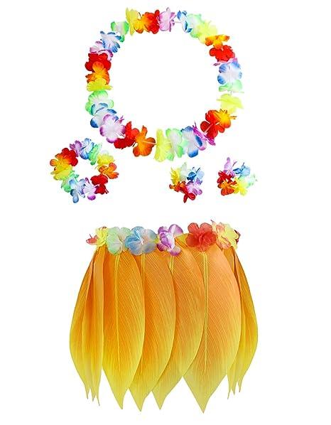 2e01782f76 Hawaiian Tropical Hula Skirt Luau Party Yellow Leaf Sunflower Leis Headband  Bracelets Garland Costume Set 5pcs
