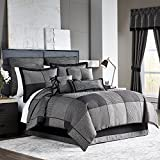 5 Piece Multi Patchwork Pattern Comforter Set King Size, Stylish Geometric Square Design, Featuring Solid, Stripes, Houndstooth Print, Textured Style, For Modern Luxury Bedrooms, Vivid Grey Black