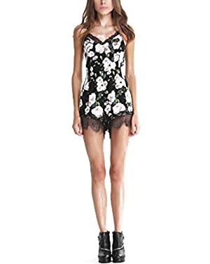 ZEAMO Women Summer Sexy Lace Playsuit Floral Short Jumpsuit Romper