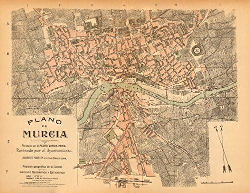 Murcia. Plano Antiguo de la cuidad. Antiguo Ciudad/ciudad Plan. Martin – C1911 – Old Antiguo Mapa Vintage – Mapas de Impreso de España: Amazon.es: Hogar