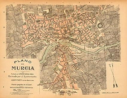 Murcia Map Of Spain.Amazon Com Murcia Plano Antiguo De La Cuidad Antique Town City