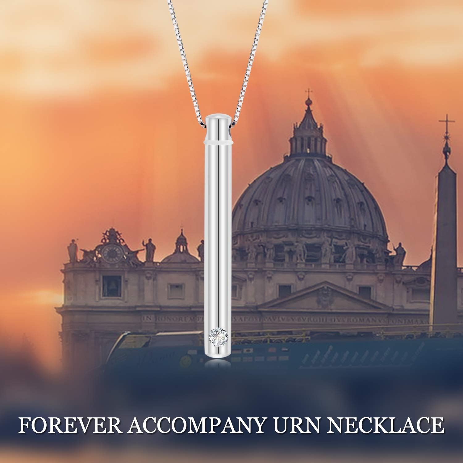 Personalized 925 Sterling Silver Name Urn Bar Disc Necklace Keepsake Ashes Cremation Hair Memorial Jewelry Custom Engraved Message Locket with Cubic Zirconia