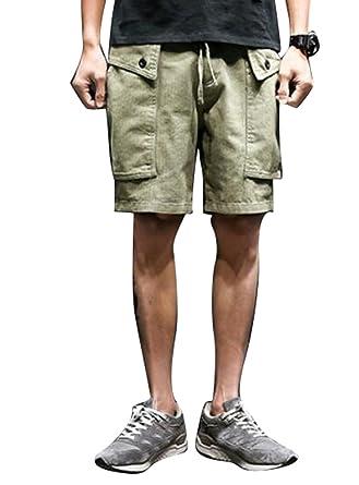 f047a7c979 LD Mens Solid Cotton Multi-Pockets Wide Leg Workout Loose Cargo Shorts Pants  | Amazon.com