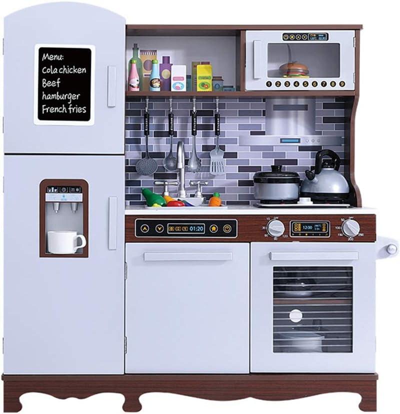 子供用キッチンおもちゃ アクセサリー用品シンクコンロキャビネット炊飯器フック回転可能なノブ簡単な組み立て玩具のためにキッズキッズキッチンプレイセット、木製ごっこ料理食品セット 子供への贈り物として理想的 (Color : As picture, Size : 93.5x30x100cm)