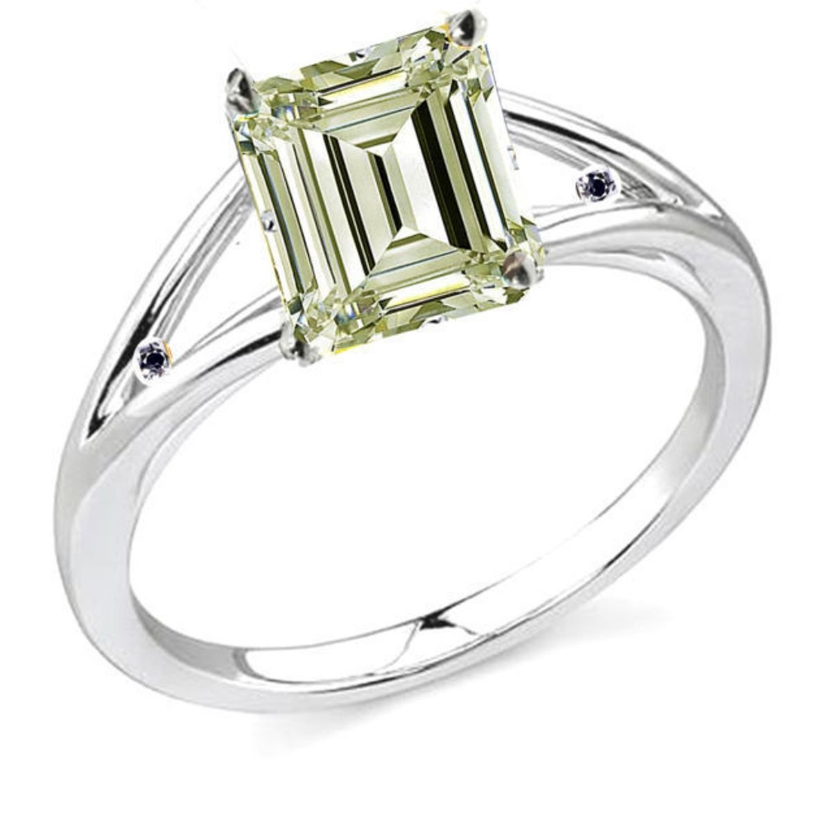 RINGJEWEL 1.70 ct SI2 Emerald Moissanite Engagement Silver Plated Ring White Yellow Color Size 7.50 by RINGJEWEL