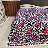 Worldoftextile Embroidered Cotton Bed Sheet suzani bedspread suzani bedding Queen Size Beautiful Embroidered Suzani bed cover Quilt