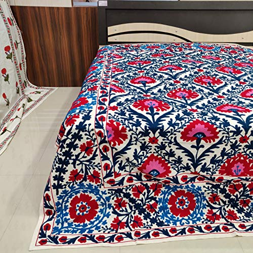 Worldoftextile Embroidered Cotton Bed Sheet suzani bedspread suzani bedding Queen Size Beautiful Embroidered Suzani bed cover Quilt (Suzani Quilt)