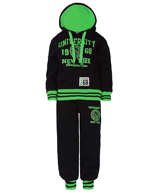 Kids University Tracksuit Hooded Top Jogging Bottoms Girl Boys 2 Piece Suit