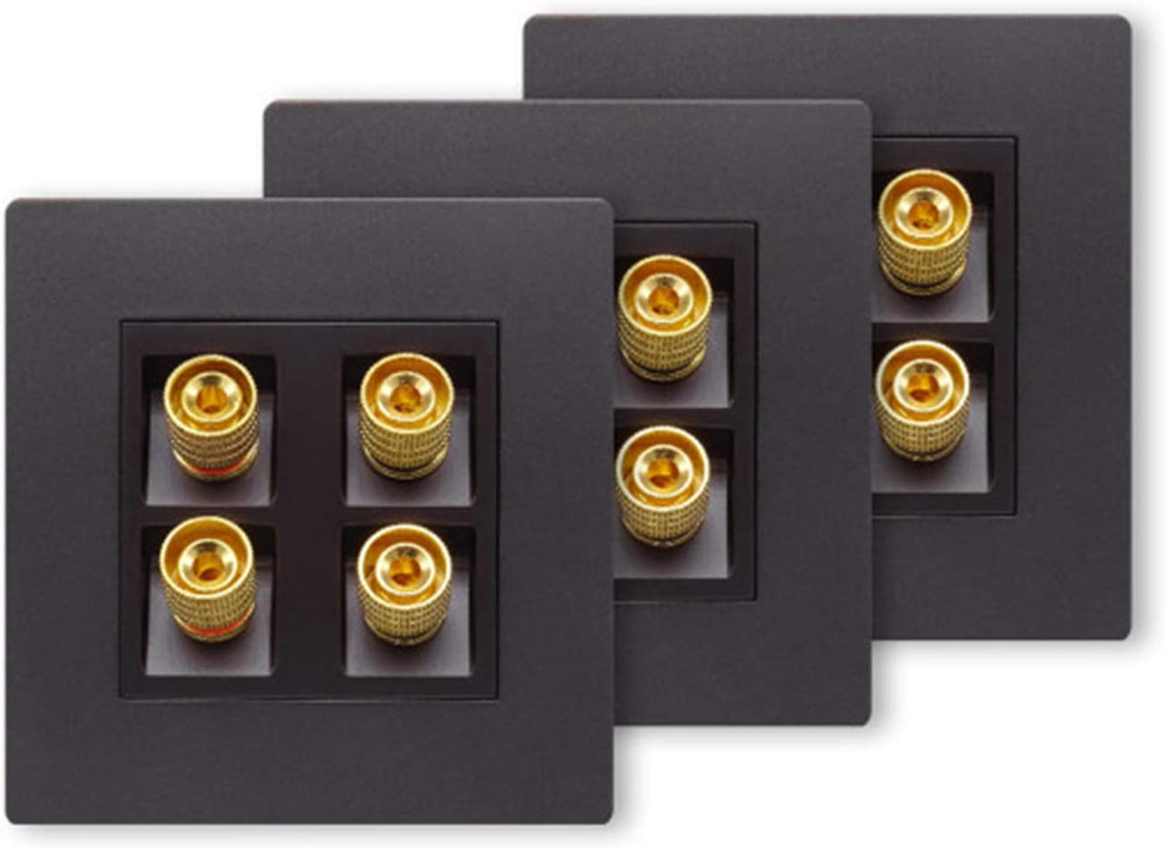 Insputer Audio Wall Plate Surround Sound System Home Theater Wall Plate Audio Video Copper Banana Binding Post Coupler Type Black 4 Speaker Wall Plate 3 Packs