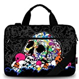 iColor 15' Laptop Shoulder Messenger Bags 14' 15.4 Inch Office Briefcase 15.6' Notebook Tablet Canvas Handle Cases Carrying Sleeve Cover Holder (14'~15.6', Black w/Skull)