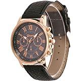 Bestvech Luxury Bracelet Geneva Roman Faux Leather Analogue Quartz Analogue Women's Wristwatch