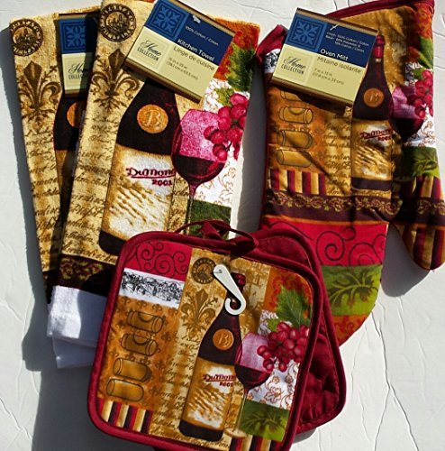 Lovers Pot Holder (Wine Lovers Kitchen Linen Set (2030) (Includes: one oven mitt, two dish towels, and two pot holders))