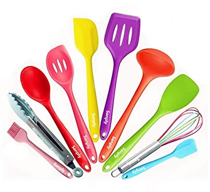 Silicone Kitchen Utensil Set   Colorful 10 Pieces Cooking Utensils Set,  Kitchen Tool Set With