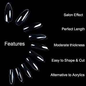 ECBASKET Clear Nail Tips Stiletto Nails Full Cover Fake Nails Long Artificial Press On Nails For Women Girls Men Boys Teens With Bags (Color: Clear stiletto nails)