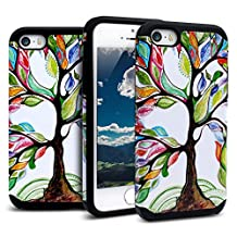 iPhone SE Case,iPhone 5S/5 Case Shockproof, Miss Arts [Pattern Series] Slim Anti-Scratch with [Gift Box] [Drop Protection] Heavy Duty Dual layer Case Cover for iPhone SE 5s 5 -[Tree]