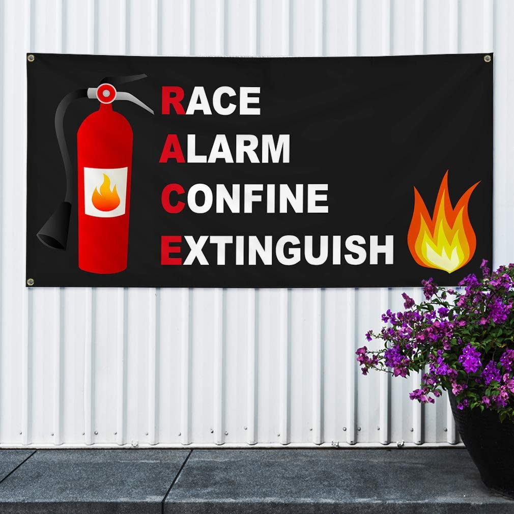 4 Grommets Multiple Sizes Available 24inx60in Vinyl Banner Sign Race Alarm Confine Extinguish Lifestyle Marketing Advertising Black Set of 3
