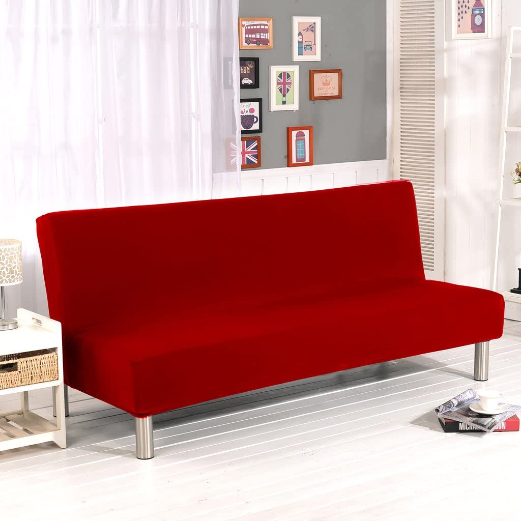Cornasee Funda de Clic-clac elástica, Cubre/Protector sofá de 3 plazas,Color sólido,Rojo