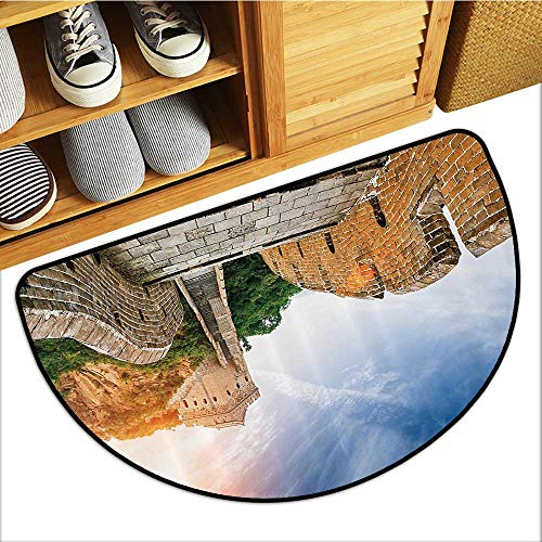 Semicircular Cushion Legendary Dynasty Mument Cliffs Historical Countryside for Home Living Room Bedroom W31xH19 INCH