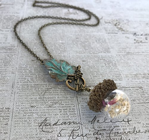 Acorn Glass Globe Pendant Vial Necklace Oak Leaf (Acorn Mini Pendant)