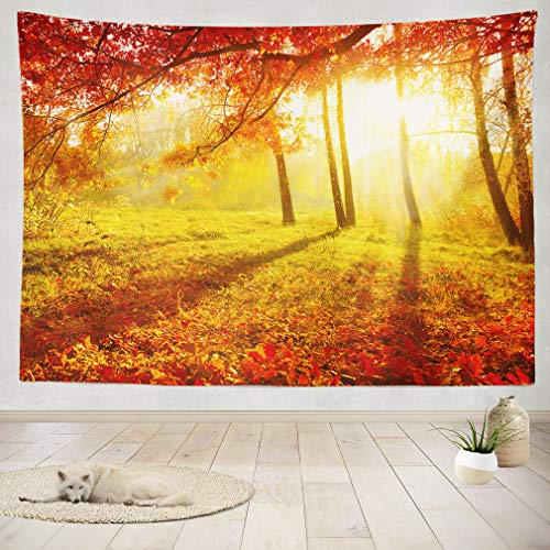 ASOCO Tapestry Wall Handing Orange Fall Autumn Yellow Leaf Season Color Nature Wall Tapestry for Bedroom Living Room Tablecloth Dorm 60X80 Inches
