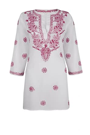 d0381e08a7b0 Ladies White Beach Kaftan Cover Up with Raspberry Pink Hand Embroidery   Amazon.co.uk  Clothing