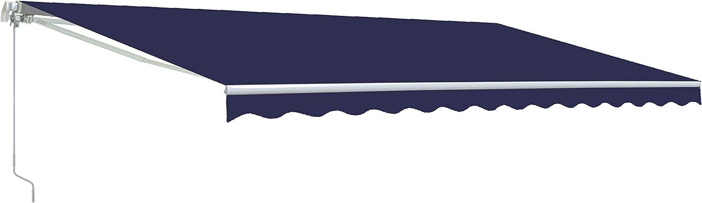 ALEKO AWM12X10BLUE30 Retractable Motorized Patio Awning 12 x 10 Feet Blue