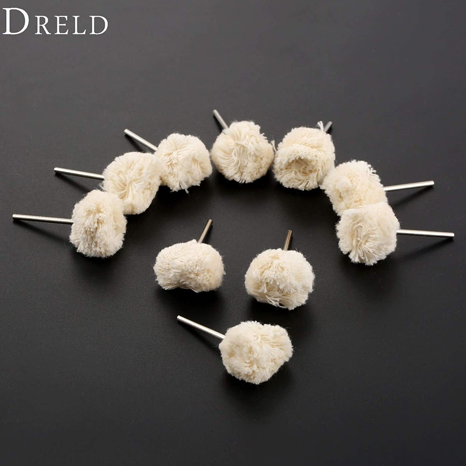 10Pcs Accessories 22mm Wool Polishing Buffing Wheels 2.35mm Shank Jewelry Metals Grinding for Drill Rotary Tools