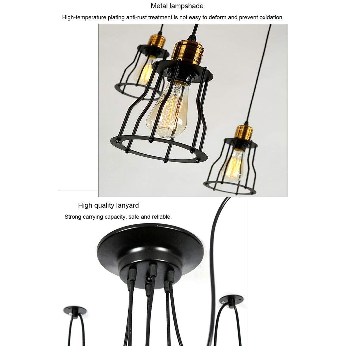 NANGE Vintage Chandelier,Edison Multiple Adjustable DIY Metal Wire Cage Pendant Lighting,Modern Chic Industrial Dining Light,E27(Without Light Source) (Color : Warm White, Size : AC 220V) by NANGE (Image #3)