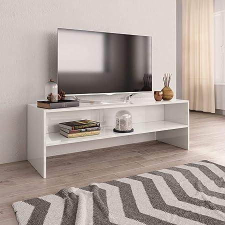 UnfadeMemory Mueble para TV,Mesa para TV,Estante de TV para Salón Dormitorio,Estilo Clásico,con Compartimento Abierto,Madera Aglomerada (Blanco Brillante, 120x40x40cm): Amazon.es: Hogar