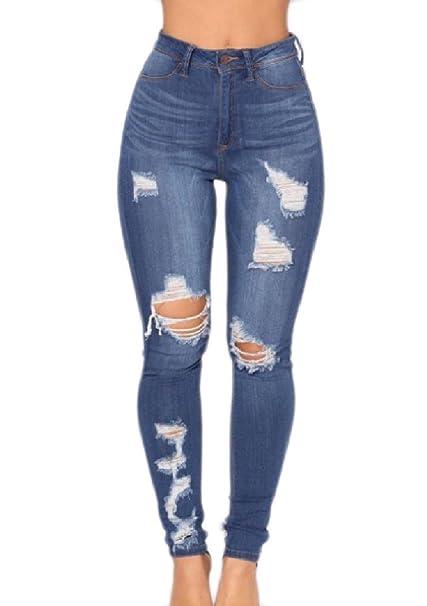 86aa689b535 QueenHandsWomen QueenHands Womens Over Waist Washed Novelty Tapered  Destroyed Patchwork Capris Denim Pants Dark Blue 2XL