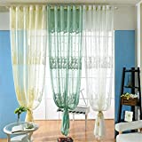 Simonshop 110 X 79 Inch Fashion Sheer Window Curtains Elegant Polyester Jacquard Pattern Curtains for Living Room (Style A-white)