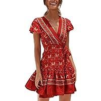 46e1e8d1d34 Gyouanime Womens Floral Print Deep V Neck Skirts Summer Party Evening Beach  Short Mini Dress Sundress