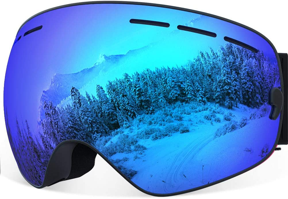 Ski Goggles for Men Women, YAKAON Y1 Frameless Snowboard Goggles with Anti-fog 100 UV Protection Sphercial REVO Mirror Lens