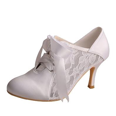 134c217202e Wedopus MW869 Women High Heels Pumps Closed Toe Bootie Lace Satin Ribbon Bridal  Wedding Court Shoes